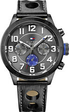 New Tommy Hilfiger Men Multifunction Black Leather Dress Watch 47mm 1791051 $155