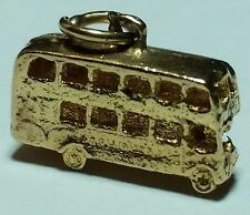Rare Vintage 9K Solid Yellow Gold DOUBLE DECKER BUS Pendant 1.4g