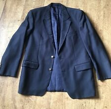 MENS M&S VINTAGE PURE WOOL MILITARY NAVY BLUE BLAZER JACKET EU 50 UK 40 Z578