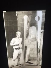 Isamu Noguchi In Studio 1974. American Art, Biomorphism Sculpture 35mm  Slide