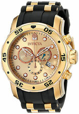 Invicta Hombre Relogio Gold Crystal Rubber Band Hand Man Watch Bracelet Pulsera