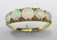 Edwardian Antique 18ct 750 Gold Five Stone Cabochon Crystal Opal  Ring Size W