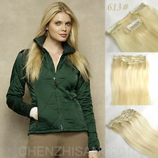"""Tengda Straight Full Head 15""""-22"""" 70g-120g Clip in Real Human Hair Extensions"""