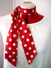 ROCKABILLY/ROCK N ROLL NECK SCARF HAIR TIE HEADBAND RED & WHITE MED SPOTS COTTON