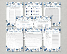 Blue & Silver Glitter Dots Baby Shower Games Pack - 8 Printable Games