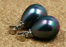 Perfect 2pcs real 12x16mm South Sea black Drops of water Shell Pearl Pendant