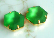 #1269J Vintage Rhinestones Peridot Prong Setting 13 x15 Octagon Gold Plated NOS
