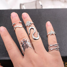 7Pcs Womens Fashion Punk Stack Above Knuckle Ring Band Midi Rings Set Gift