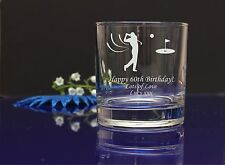 Personalised GOLF IMAGE engraved whiskey glass GRANDADS Birthday,Christmas gift6