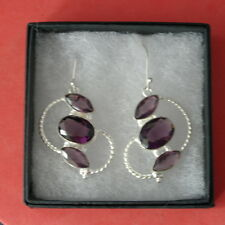 Beautiful Silver Earrings With Faceted African Amethyst 6.4 Gr. 4 Cm.Long +Hook