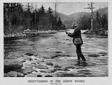 TROUT FISHING IN THE NORTH WOODS BY A. B. FROST FLY FISHING STREAM CREEL BASKET
