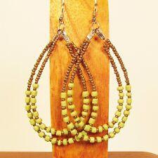 """3"""" LONG Double Teardrop Hoops Gold Green Handmade Seed Bead Hook Earrings"""