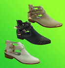 CELEB Womens Ankle Block Heel CUT OUT Flat Stud Buckle Zip Strap Chelsea Boots