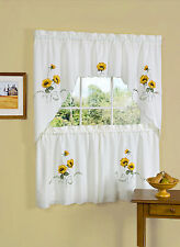 "Sunflower Embroidered Kitchen Curtain 36"" Tier Pair & 30"" Swag Set"