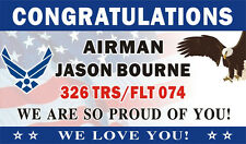 3ftX5ft Personalized Congratulations Airman US Air Force Banner Sign (Flag BG)