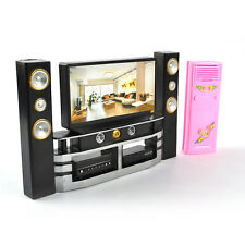 Cool Dollhouse Furniture Living Room Accessories TV Theatre Set Combo For Barbie