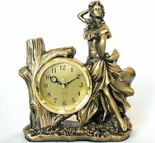 NEW GOLD BRASS TONE RESIN DANCING POSE WOMAN+WOOD LOG+ROSE CLOCK+BOX-5211