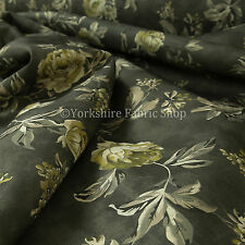 10 Metres Of Rose Flower Floral Pattern Grey Natural Upholstery Interior Fabric