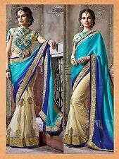 Bollywood Designer Party Wear Blue & Cream Color Heavy Bridal Saree