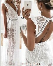 FOREVER HOT! NEW TIGERMIST WHITE SEMI SHEER LACE MAXI FORMAL DRESS 10 LAST1