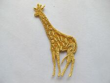 "#2783 3""x1"" Gold Wild Animal Giraffe Embroidery Iron On Applique Patch"