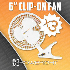 "3 pack 6"" CLIP ON FANS 2 speed air grow light King inch 9145 active acfc6 duct"