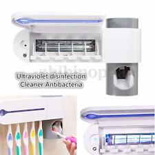 White Automatic Toothpaste Dispenser 5 Toothbrush Holder Set Wall Mount Stand US