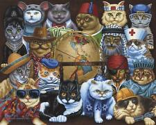 DOWDLE FOLK ART COLLECTORS JIGSAW PUZZLE CATS AROUND THE WORLD 1000 PCS #10302