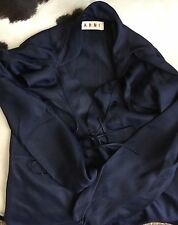 MARNI Navy Silk Ruffle Tie Shirt Blouse Top Sz. 40 4US $1000