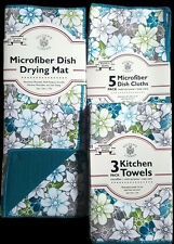 NWT FLORAL KITCHEN HAND TOWELS DISH CLOTHS DRYING MAT 9 PC SET BLUE TEAL GRAY