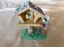 Handcrafted Easter Bunny Tree House Multi Color Resin Figurine