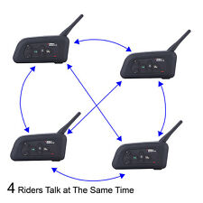 4x V4-1200M Intercomunicador Interphone Bluetooth Auriculares Interfono Moto FM