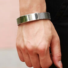 Mens Fashion Silver Stainless Steel Black Leather Cuff Bangle Bracelet Wristband