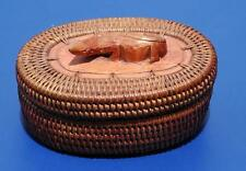 Beautiful Vintage Woven Basket With Carved Lizard on Top