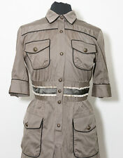 Just Cavalli Brown Stripe Military Cargo Dress Pockets EU 44 US 14 Made in Italy