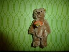 "Vintage Steiff Teddy Bear Miniature Mohair 4"" Tag Pin EUC Jointed 1950""s Brown"