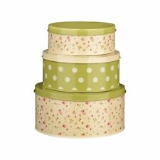 SET OF 3 ROSE COTTAGE ROUND CAKE METAL TINS BISCUIT CUPCAKE COOKIE STORAGE NEW