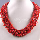 """Free Shipping Natural Stone Red Coral Chip Beads Weave Necklace 18"""" TE033"""