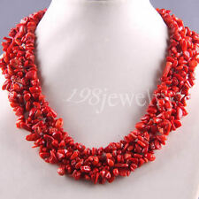 "Free Shipping Natural Stone Red Coral Chip Beads Weave Necklace 18"" TE033"