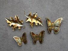 Vintage Leaves Leaf Butterfly 5 Brass Metal Copper & Gold Colored Wall Hanging
