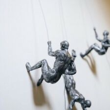 Stunning Solid Contemporary 3D Art Climbing Men Sculpture / Wall Art.