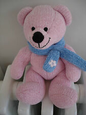 MOTHERCARE PINK RIBBED TEDDY BEAR SOFT TOY BLUE SCARF WITH FLOWER