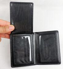 Black Leather Badge ID Wallet Holder Case-D505