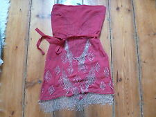 KATE MOSS RED BANDEAU DRESS, 8, 20s beaded & fringing, TOPSHOP
