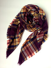 Ladys Brown Blanket Oversized Tartan Scarf Wrap Shawl Women Plaids Cozy Pashmina
