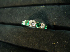 QVC STERLING SILVER CHROME DIOPSIDE CZ Diamonique 7-STONE RING ETERNITY BAND 5