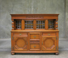 55142-1 : LARGE ANTIQUE OAK BELGIUM TUDOR STYLE SIDEBOARD CABINET