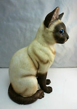"VINTAGE 10"" PORCELAIN SIAMESE CAT FIGURINE - GORGEOUS LIFE LIKE"