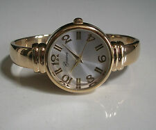 GOLD  FINISH GENEVA DESIGNER STYLE WOMEN'S BANGLE CUFF WATCH