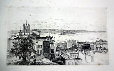 "20CT AUSTRIAN ETCHING PRINT ""VIEW FROM NOB HILL S.F."" by JOHN W. WINKLER (Daw)"